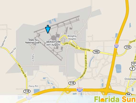 Jacksonville International Airport Rental Car Map - Jacksonville map