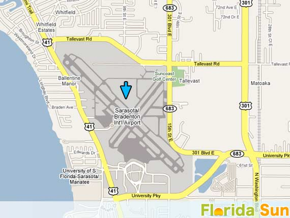 Map Of Florida Sarasota.Sarasota Bradenton International Airport Rental Car Map